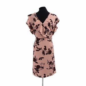 Halsten pink flutter sleeve floral dress size Larg